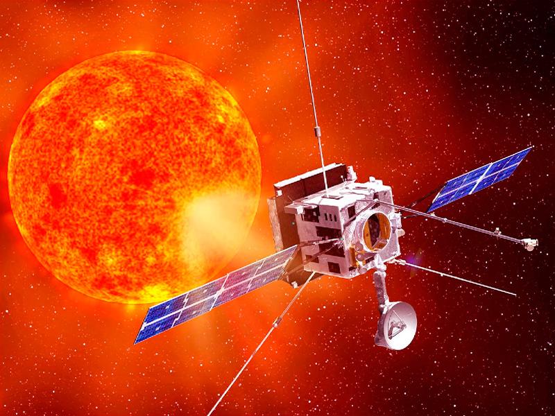 Imagen artística de la nave Solar Orbiter junto al Sol. (Cortesía de la ESA).