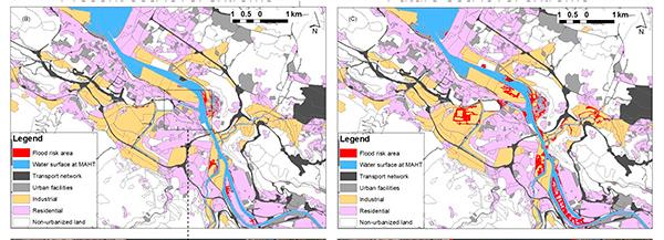 Ría de Bilbao. En rojo, zonas en riesgo de inundación hoy (izquierda) y previstas para la segunda mitad del siglo XXI (derecha).