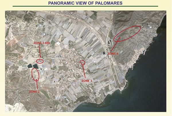Vista aérea de Palomares. Zonas contaminadas.