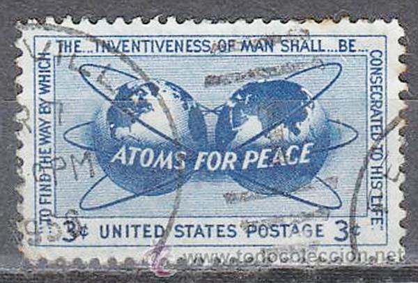 """Sello conmemorativo de la conferencia """"Átomos para la Paz"""" del presidente de EE UU Dwight David Eisenhower, El 8 de diciembre de 1953."""