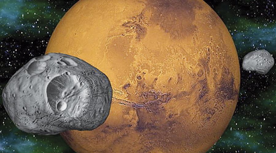 Ilustración de los satélites marcianos. Fobos y Deimos.