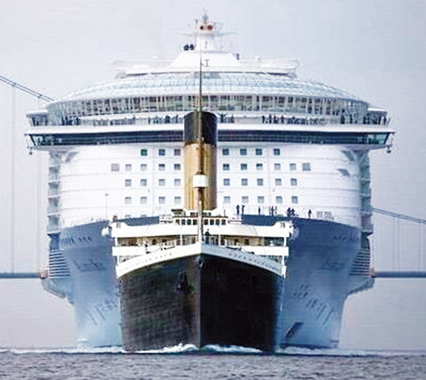 """El """"Titanic"""" comparado con el """"Oasis of the Seas""""."""