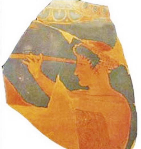 Una curiosa cerámica griega mostrando una observación con un tubo.