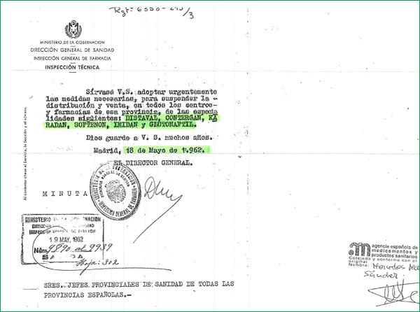 Orden retirada Dirección General de Sanidad.