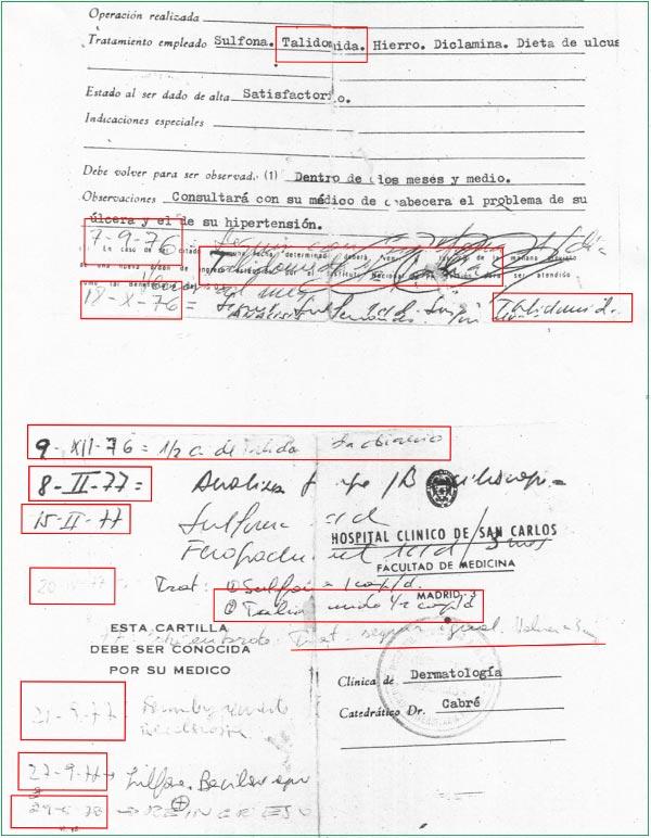 Receta de Talidomida del Hospital Clínico San Carlos de Madrid.