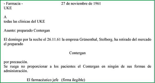 Orden de retirada de la Talidomida en Alemania.