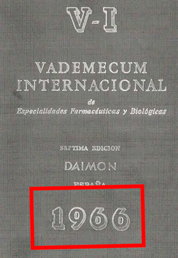 Enterosediv, Vademecum 1966, 69, 70, 71, 73 y 75.