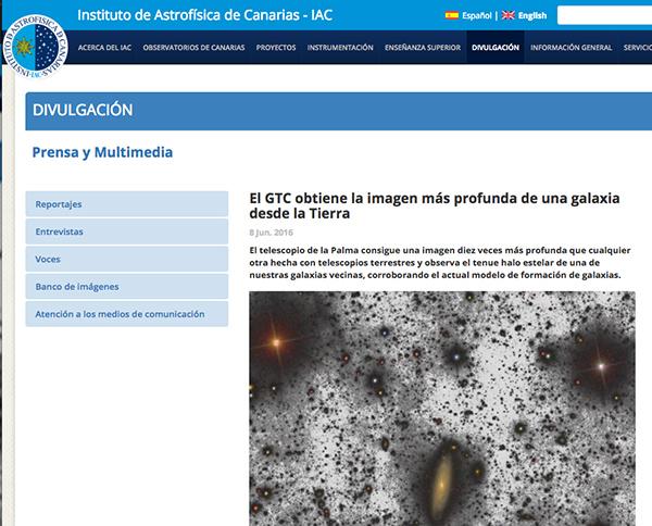 Página web del Instituto de Asfrofísca de Canarias.