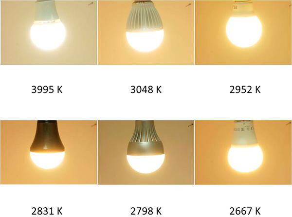 Temperaturas de color de las seis lámparas LED´s anteriores: De arriba abajo y de izquierda a derecha, colores fríos corresponden a temperaturas de color altas y a la inversa.