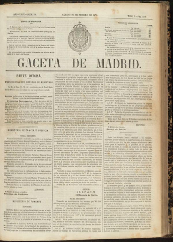 Decreto Orovio (26 de Febrero de 1875) prohibiendo la libertad de cátedra